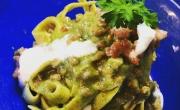 Tagliatelle crema di broccoli calabresi  salsiccia e burrata